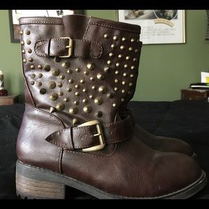 Brown Boots Vegan Leather 8 Studded Rock Punk